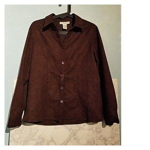 Sag Harbor Tops - Brown Floral Button Down Blouse Size M Blazer Med